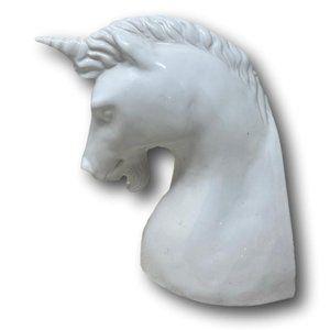 Vintage Ceramic White Unicorn Bust Shelf Decor